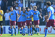 Scunthorpe United celebrate goal scored by Scunthorpe United defender David Mirfin (6) to go 1-0 during the EFL Sky Bet League 1 match between Scunthorpe United and Bolton Wanderers at Glanford Park, Scunthorpe, England on 8 April 2017. Photo by Ian Lyall.