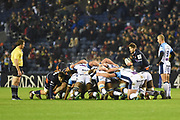 Henry Pyrgos puts in to the scrum during the Heineken Champions Cup match between Edinburgh Rugby and Montpellier Herault Rugby at BT Murrayfield Stadium, Edinburgh, Scotland on 18 January 2019.