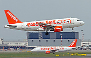 EasyJet, Airbus A319-111 on the ground at  Linate, Milan, Italy