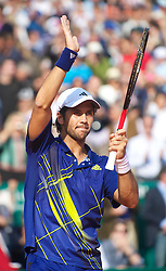 MONTE-CARLO, MONACO - Saturday, April 17, 2010: Fernando Verdasco (ESP) celebrates after winning the Men's Singles Semi-Final 6-2, 6-2 on day six of the ATP Masters Series Monte-Carlo at the Monte-Carlo Country Club. (Photo by David Rawcliffe/Propaganda)