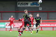 Forest Green Rovers George Williams(11) heads the ball on during the EFL Sky Bet League 2 match between Crawley Town and Forest Green Rovers at The People's Pension Stadium, Crawley, England on 6 April 2019.