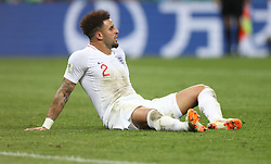 MOSCOW, July 11, 2018  Kyle Walker of England sits on the pitch during the 2018 FIFA World Cup semi-final match between England and Croatia in Moscow, Russia, July 11, 2018. Croatia won 2-1 and advanced to the final. (Credit Image: © Cao Can/Xinhua via ZUMA Wire)