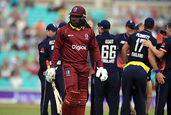 West Indies Chris Gayle walks off dejected during the Fourth Royal London One Day International at the Kia Oval, London.