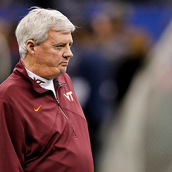 January 3, 2012; New Orleans, LA, USA; Virginia Tech Hokies head coach Frank Beamer watches his team prior to kickoff of the Sugar Bowl against the Michigan Wolverines at the Mercedes-Benz Superdome.  Mandatory Credit: Derick E. Hingle-US PRESSWIRE