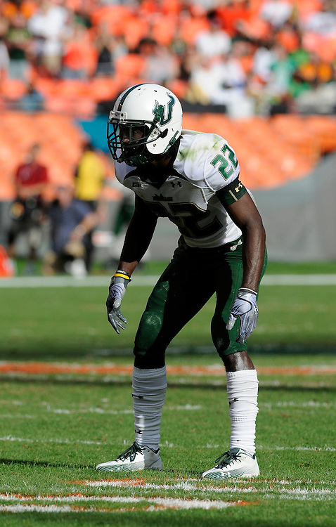 MIAMI GARDENS, FL - NOVEMBER 27: George Baker #22 in action during the game against the Miami Hurricanes at Sun Life Stadium in Miami Gardens, Florida on November 27, 2010. South Florida defeated the Hurricanes 23-20.