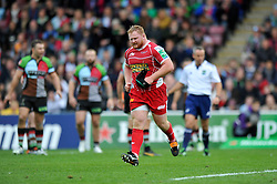 Scarlets prop Samson Lee is leaves the field having been shown a yellow card for stamping on the face of Harlequins scrum half Danny Care - Photo mandatory by-line: Patrick Khachfe/JMP - Tel: Mobile: 07966 386802 12/10/2013 - SPORT - RUGBY UNION - Twickenham Stoop - London - Harlequins V Scarlets - Heineken Cup