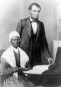 Sojourner Truth (c. 1797 – November 26, 1883) was the self-given name, from 1843, of Isabella Baumfree, an African-American abolitionist and women's rights activist. Pictured with President Abraham Lincoln in October 1864