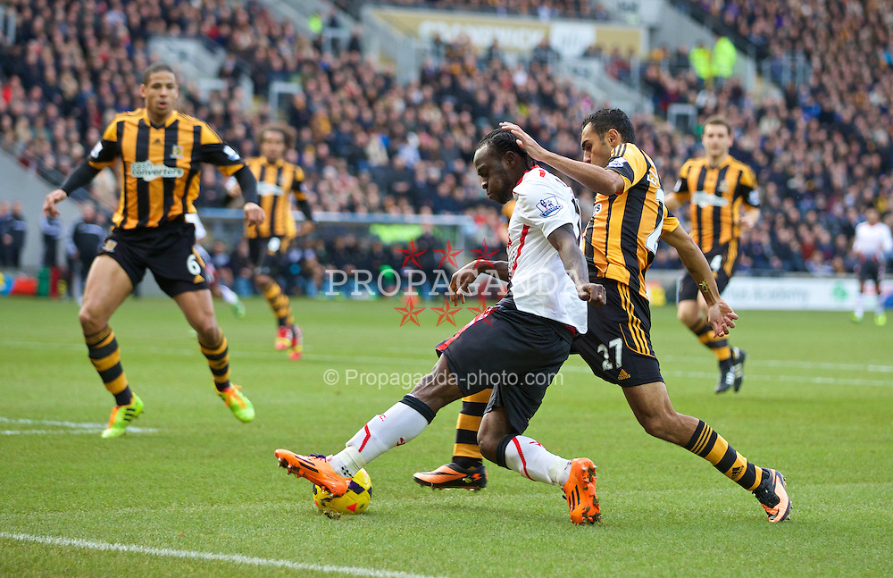 HULL, ENGLAND - Sunday, December 1, 2013: Liverpool's Victor Moses in action against Hull City during the Premiership match at the KC Stadium. (Pic by David Rawcliffe/Propaganda)