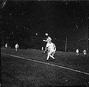 22/02/1963.02/22/1963.22 February 1963.Celtic vs Morton at Dalymount park, Dublin. Special for Scottish Daily Express. John Hughes (left) Celtic forwrd, heads towards the Morton goal. Jim Kiernan of Morton on right.