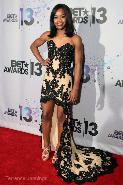 Los Angeles, CA-June 30:  American Gymnast Gabby Douglas backstage at the 2013 BET Awards Winners's Room Inside held at LA Live on June 30, 2013 in Los Angeles, CA. ©Terrence Jennings/Retna, Ltd