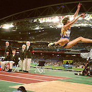 A panoramic image During the Women's Long Jump at the Sydney Olympic Stadium during the 2000 Sydney Olympic Games...Panoramic images from the Sydney Olympic Games, Sydney, Australia.  2000 . Photo Tim Clayton