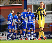 Callum Camps goal celebrations  during the Sky Bet League 1 match between Rochdale and Burton Albion at Spotland, Rochdale, England on 30 January 2016. Photo by Daniel Youngs.