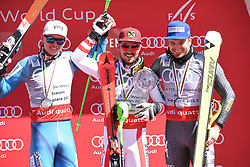 19.03.2017, Aspen, USA, FIS Weltcup Ski Alpin, Finale 2017, Slalom, Herren, Siegerehrung, im Bild Henrik Kristoffersen (NOR, zweiter Platz slalom und dritter Platz gesamt Weltcup), Marcel Hirscher (AUT, Slalom Riesenslalom und Gesamt Weltcup Sieger), Manfred Mölgg (3. Platz Slalom Weltcup) // second placed slalom and third placed over all world cup Henrik Kristoffersen of Norway, over all world cup winner ans Slalom and Giantslalom world cup winner Marcel Hirscher of Austria, third placed Slalom World cup Manfred Moelgg of Italy during the winner award ceremony for the men's Slalom of 2017 FIS ski alpine world cup finals. Aspen, United Staates on 2017/03/19. EXPA Pictures © 2017, PhotoCredit: EXPA/ Erich Spiess