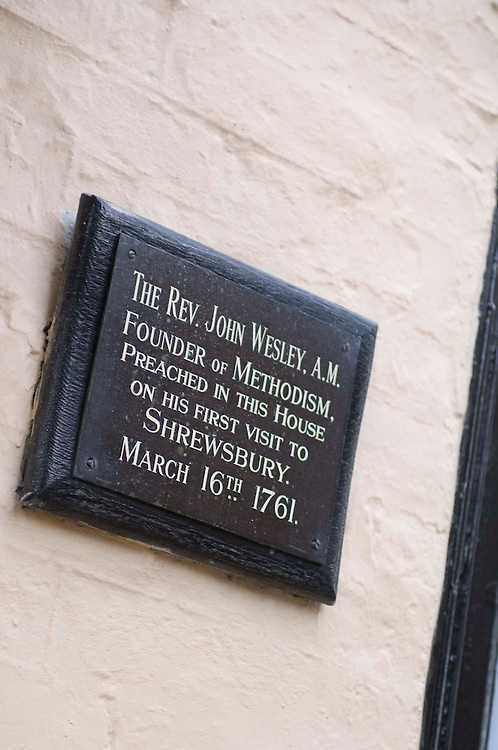 Sign on house in Shrewsbury Shropshire commorating visit of of John Wesley