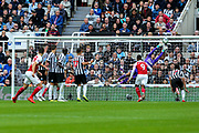 Granit Xhaka (#34) of Arsenal scores Arsenal's first goal (0-1) with a free kick that beats the diving Martin Dubravka (#12) of Newcastle United during the Premier League match between Newcastle United and Arsenal at St. James's Park, Newcastle, England on 15 September 2018.