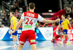 Christian OSullivan of Norway reacts during handball match between National teams of Sweden and Norway on Day 7 in Main Round of Men's EHF EURO 2018, on January 24, 2018 in Arena Zagreb, Zagreb, Croatia.  Photo by Vid Ponikvar / Sportida