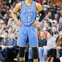 04 December 2013: Oklahoma City Thunder point guard Russell Westbrook (0) rests during the Portland Trail Blazers 111-104 victory over the Oklahoma City Thunder at the Moda Center, Portland, Oregon, USA.