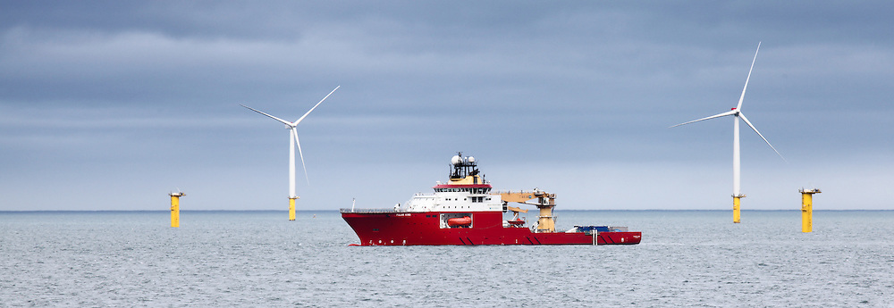 © Rob Arnold.  06/04/2014. North Wales, UK. A view of the construction support vessel, Polar King, working on Gwynt y Môr Offshore Wind Farm off the coast of North Wales. Photo credit : Rob Arnold