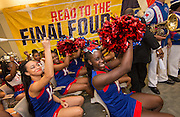 Kashmere High School cheerleaders and band perform during the reveal of the 32 finalists in the Houston ISD NCAA Read to the Final Four, November 11, 2015.
