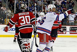 November 14, 2007; Newark, NJ, USA;  New York Rangers left wing Sean Avery (16) celebrates a goal by New York Rangers defenseman Marc Staal (18) during the third period at the Prudential Center in Newark, NJ.   The Rangers won the game 4-2.