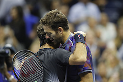 September 6, 2017 - New York City, New York, United States - Juan Martin del Potro (R) of Argentina hugs Roger Federer (L) of Switzerland after their Men's Singles Quarterfinal match on Day Ten of the 2017 US Open at the USTA Billie Jean King National Tennis Center on September 6, 2017 in the Flushing neighborhood of the Queens borough of New York City. (Credit Image: © Foto Olimpik/NurPhoto via ZUMA Press)