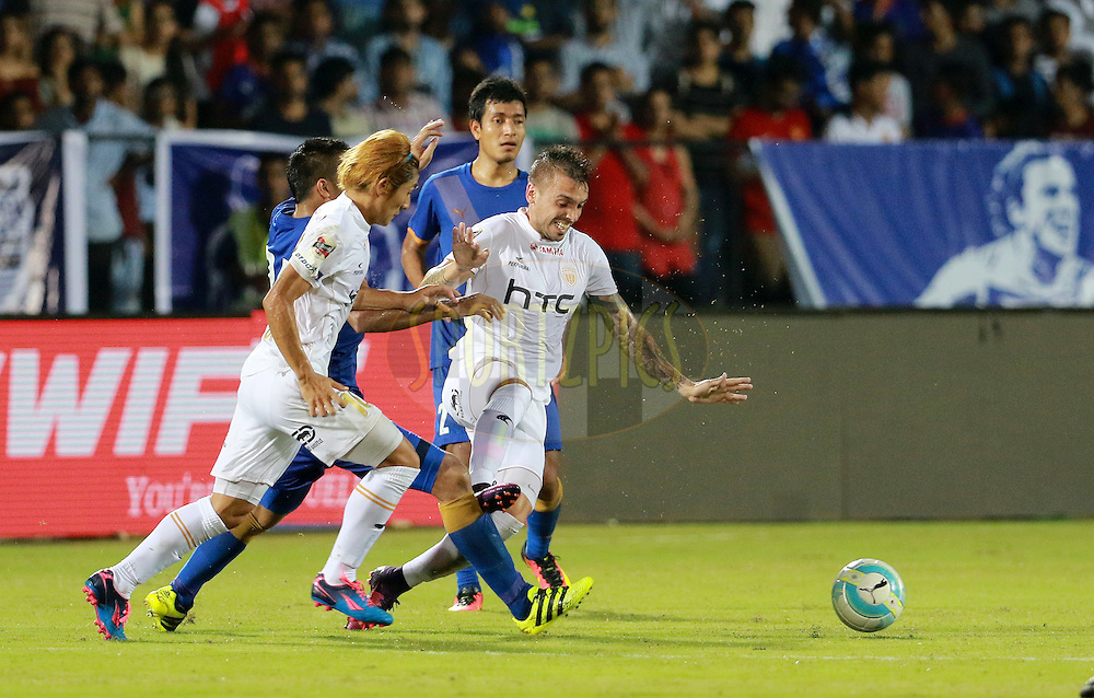 Nicolas Velez of NorthEast United FC and Katsumi Yusa of NorthEast United FC in action during match 7 of the Indian Super League (ISL) season 3 between Mumbai City FC and NorthEast United FC held at the Mumbai Football Arena in Mumbai, India on the 7th October 2016.<br /> <br /> Photo by Vipin Pawar / ISL/ SPORTZPICS