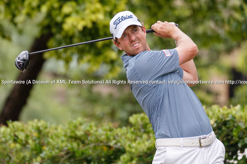 22 MAY 2016: Bryce Molder tees off on #1 to begin his Final Round of the AT&T Byron Nelson Championship at TPC Four Seasons Resort in Irving, TX.  (Photo by Andrew Dieb/Icon Sportswire)