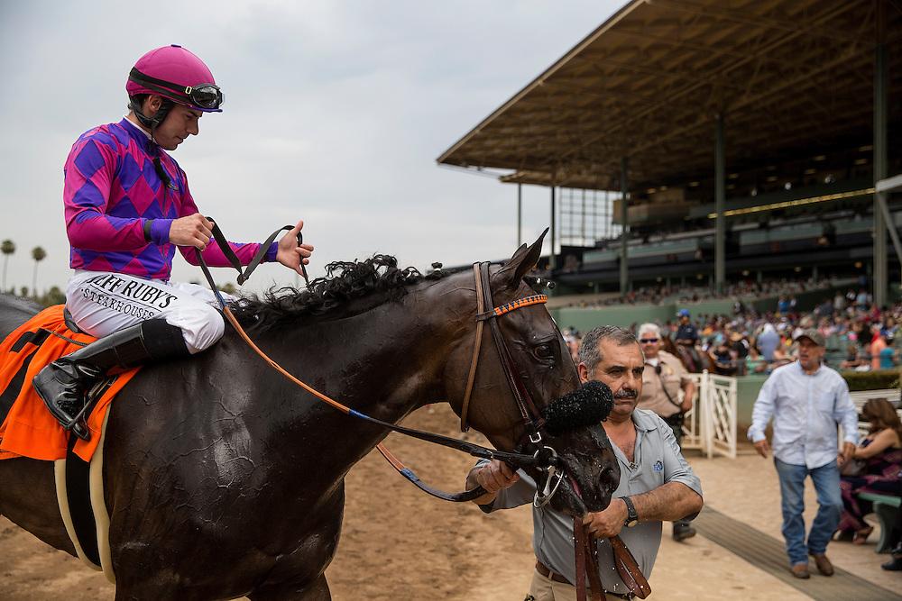June 27 2015: Fanicola with Joe Talamo (right) wins the Royal Heroine Stakes at Santa Anita Park in Arcadia CA. Alex Evers/ESW/CSM