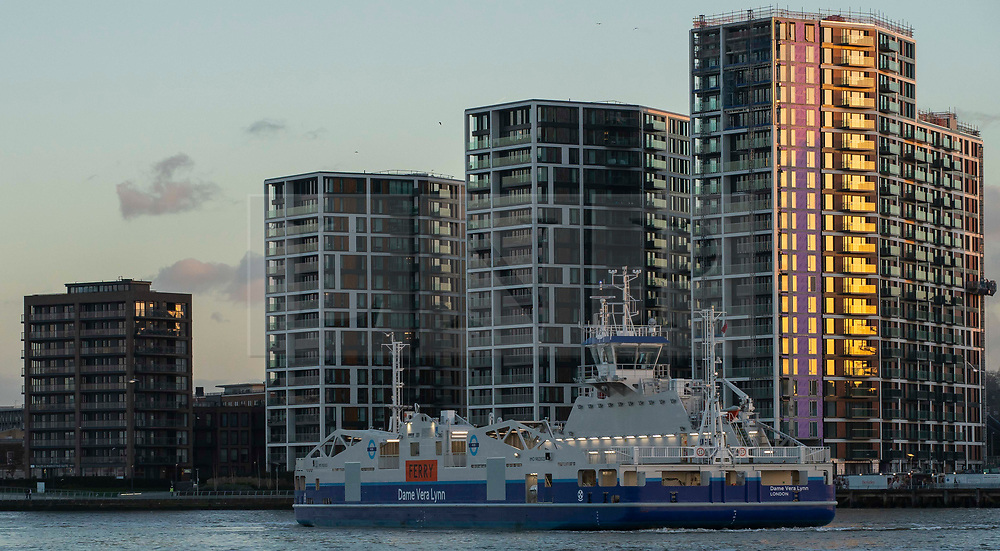 © Licensed to London News Pictures. 08/01/2019. LONDON, UK. Dame Vera Lynn Ferry, crosses the River Thames on a trail run with no passengers. One of the two new Woolwich Ferry's which start operating on the 15th Jan 2019 after three month closure replacing the old boats.<br /> Photo credit: Andrew Baker/LNP