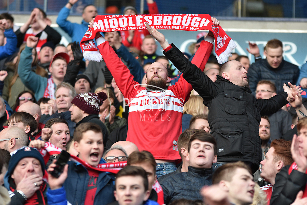 Middlesbrough fans after the Sky Bet Championship match between Bolton Wanderers and Middlesbrough at the Macron Stadium, Bolton, England on 16 April 2016. Photo by Mark Pollitt.