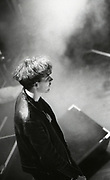 Jim Reid on stage, Jesus & Mary Chain performing at Free Trade Hall, Manchester, 1980s