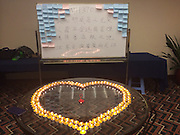 BEIJING, CHINA - MARCH 20: (CHINA OUT)<br /> <br /> Prayer For The Passengers Onboard The Missing Malaysian Airlines Flight MH370 <br /> <br />  Candle lights dedicated to passengers onboard the missing Malaysian Airlines flight MH370 are seen at a hotel on March 20, 2014 in Beijing, China. <br /> ©Exclusivepix