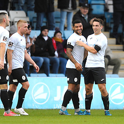 TELFORD COPYRIGHT MIKE SHERIDAN GOAL. Adam Walker of Telford celebrates after he scores to make it 1-0 during the Vanarama National League Conference North fixture between AFC Telford United and Boston on Saturday, November 2, 2019.<br /> <br /> Picture credit: Mike Sheridan/Ultrapress<br /> <br /> MS201920-028