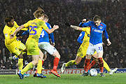Ronan Curtis (11) of Portsmouth battles for possession during the EFL Sky Bet League 1 match between Portsmouth and Wycombe Wanderers at Fratton Park, Portsmouth, England on 26 December 2019.