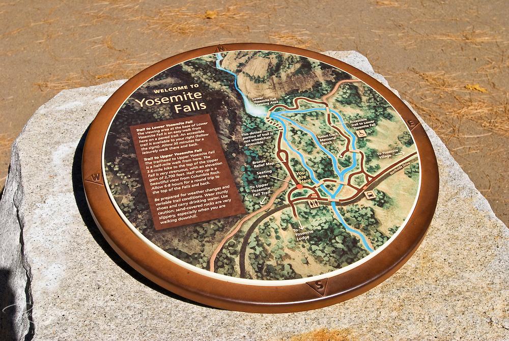 Trail map at Yosemite Falls, Yosemite National Park, California