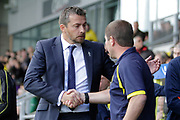 Burton Albion manager Nigel Clough greets Fulham manager Slavisa Jokanovic during the EFL Sky Bet Championship match between Burton Albion and Fulham at the Pirelli Stadium, Burton upon Trent, England on 16 September 2017. Photo by Richard Holmes.