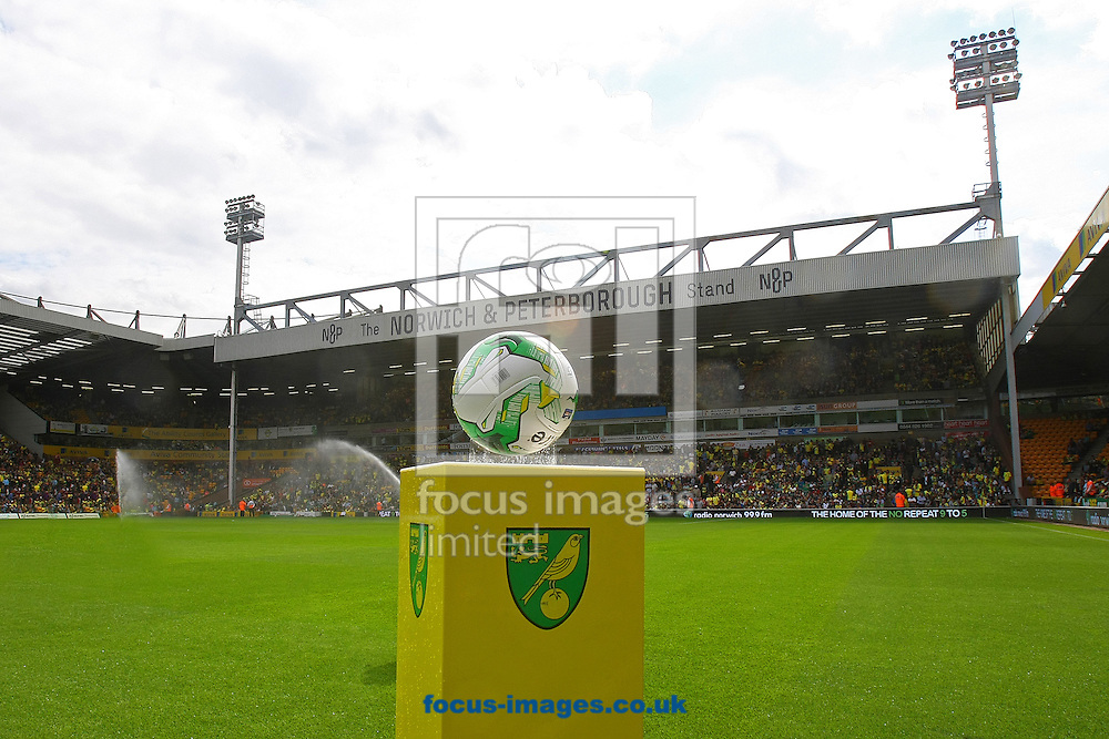 New season, new  ball. GV of Carrow Road before the Sky Bet Championship match at Carrow Road, Norwich<br /> Picture by Paul Chesterton/Focus Images Ltd +44 7904 640267<br /> 16/08/2014