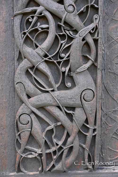 Carving on exterior of Urnes Stave church