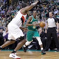 09 March 2012: Boston Celtics point guard Rajon Rondo (9) is seen during the Boston Celtics 104-86 victory over the Portland Trail Blazers at the TD Banknorth Garden, Boston, Massachusetts, USA.