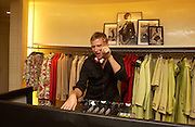 DJ Dan Lywood, Burberry party to launch collection in  support of Breakthrough Breast Cancer. New Bond St. shop. Londddon. 5 October 22004. ONE TIME USE ONLY - DO NOT ARCHIVE  © Copyright Photograph by Dafydd Jones 66 Stockwell Park Rd. London SW9 0DA Tel 020 7733 0108 www.dafjones.com
