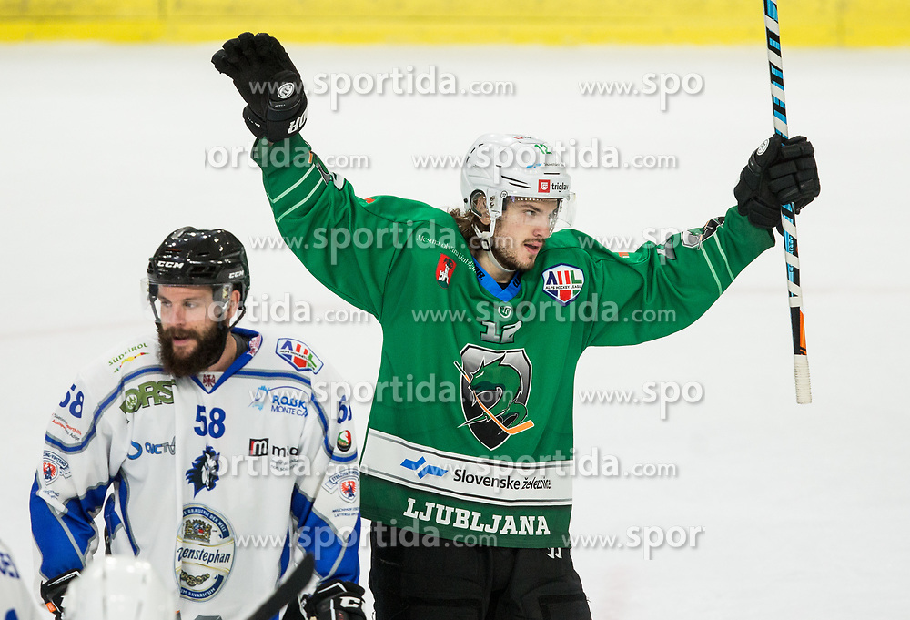 Janez Orehek of SZ Olimpija celebrates after scoring during ice hockey match between HK SZ Olimpija and WSV Sterzing Broncos Weihenstephan (ITA) in Round #12 of AHL - Alps Hockey League 2018/19, on October 30, 2018, in Hala Tivoli, Ljubljana, Slovenia. Photo by Vid Ponikvar / Sportida