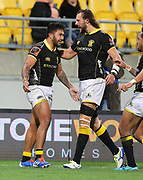 Lions Vince Aso celebrates his try with Josh Furno during the Mitre 10 Cup rugby match between the Wellington Lions & Canterbury at Westpac Stadium, Wellington. Friday 23rd August 2019. Copyright Photo: Grant Down / www.Photosport.nz