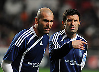 20100125: LISBON, PORTUGAL - 7th Charity Football Match against Poverty: SL Benfica All Stars vs Zidane & Kaka Friends. All the money rose from ticket sales and donations will go to the victims of Haiti Earthquake. In picture: Zidane and Figo. PHOTO: Alvaro Isidoro/CITYFILES