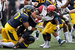 BERKELEY, CA - SEPTEMBER 12:  Running back Donnel Pumphrey #19 of the San Diego State Aztecs is tackled by linebacker Hardy Nickerson #47 of the California Golden Bears during the third quarter at California Memorial Stadium on September 12, 2015 in Berkeley, California. The California Golden Bears defeated the San Diego State Aztecs 35-7. (Photo by Jason O. Watson/Getty Images) *** Local Caption *** Donnel Pumphrey; Hardy Nickerson