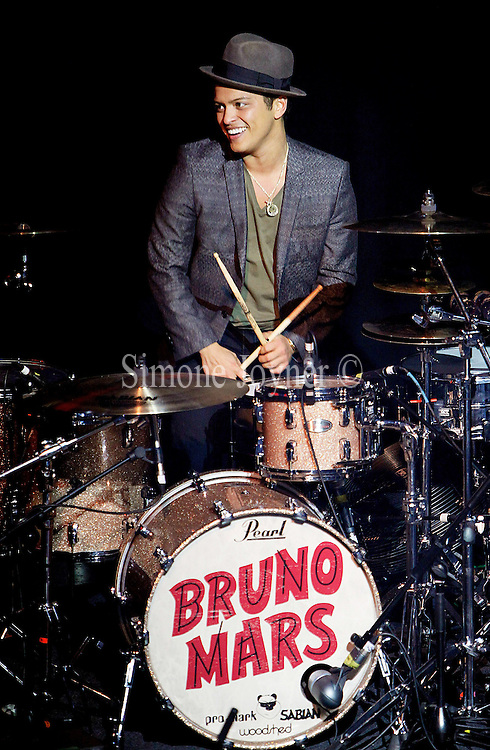 American singer-songwriter Bruno Mars performs live on stage at KOKO on March 13, 2011 in London, England.  (Photo by Simone Joyner)