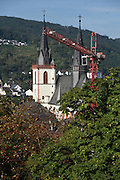Bingen am Rhein, Germany, construction crane in front of the church