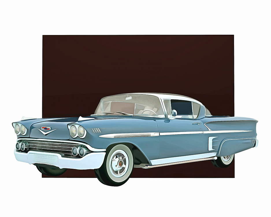 This stunning entry from Chevrolet is celebrated as one of the finest designs ever brought to life by the company. The Chevrolet Impala Special Edition truly lived up to the special part of its name. This digital painting by Jan Keteleer takes you back to the days when these cars ruled the roads. .<br />