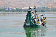 fishing boat rounding up fish in a net the Sea of Galilee, Israel