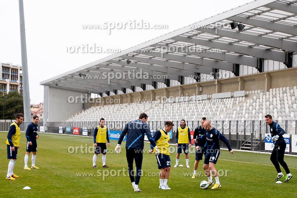 Players during training session of Slovenian National football team before World Cup Qualifications match against Iceland on March 20, 2013 in Bonifika, Koper, Slovenia. (Photo By Urban Urbanc / Sportida.com)
