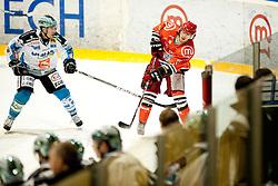 Jaka Ankerst of Jesenice during ice-hockey match between HK Acroni Jesenice and EHC Liwest Black Wings Linz in 43rd Round of EBEL league, on Januar 17, 2012 at Dvorana Podmezaklja, Jesenice, Slovenia. (Photo By Urban Urbanc / Sportida)